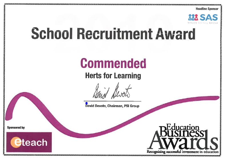 Herts for Learning receives Commendation Award at the 2019 Education Business Awards